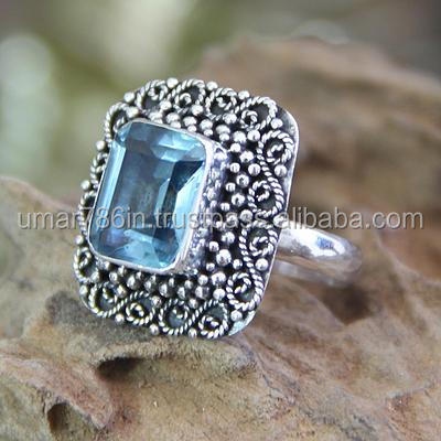 falak gems Blue Topaz and Sterling Silver Cocktail Ring, Java Skies rings