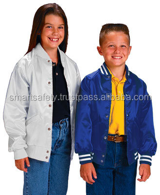 Custom Made Kids Modern Light Classic Satin Nylon Bomber Varsity Baseball Jacket