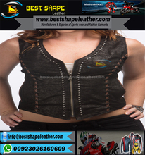 Zip front and Studded Crop Leather Vest women