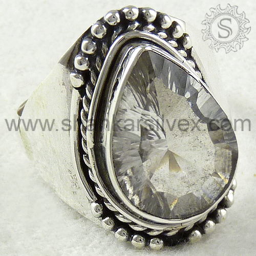 Expansive Crystal Gemstone Silver Jewelry Ring Wholesale Indian Silver Jewelry Jaipur