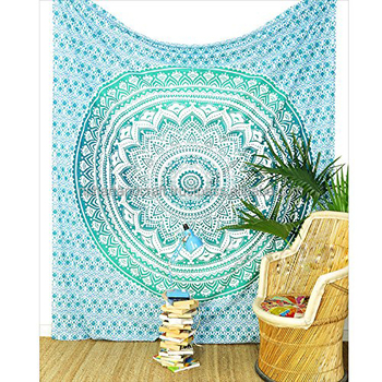 Tapestry Twin Bedspread Cotton Printed Single Dorm Bed Cover Manufacturing Tapestries Indian Exporter Wall Decor
