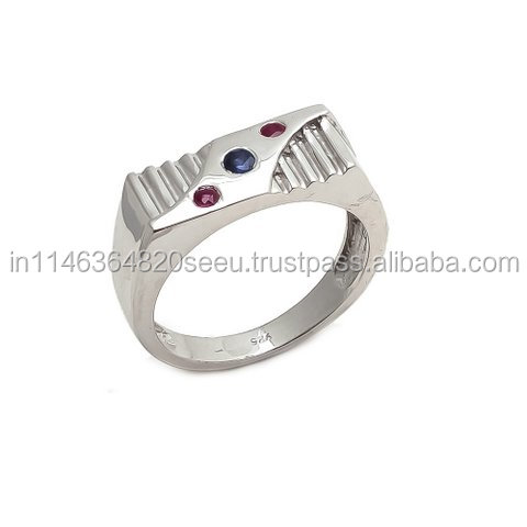 Gemstonesjewelrystore Pvt Ltd Sapphire and Ruby Gemstone Men's Ring Fashion Design Men Engagement Ring