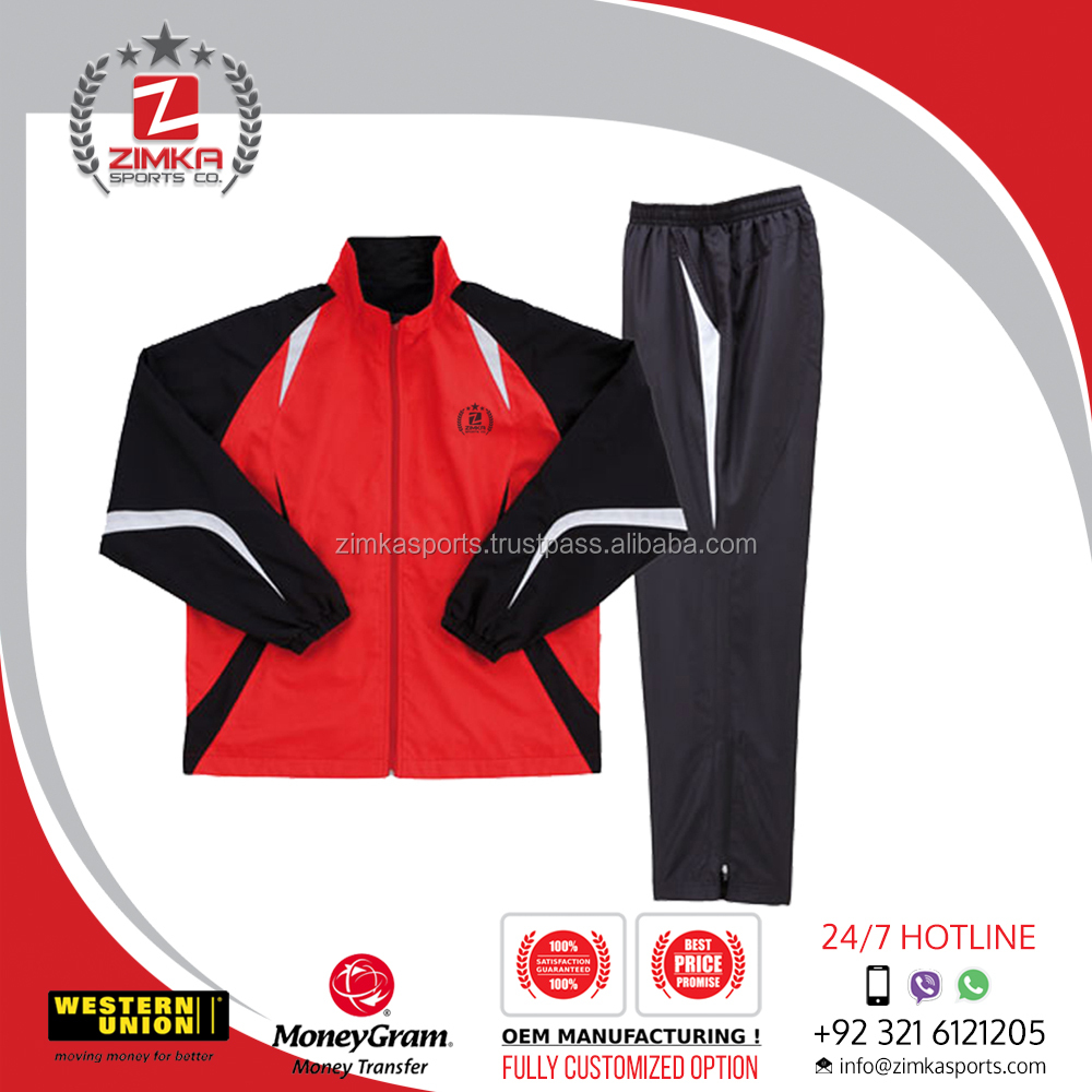 High Quality Long Sleeve Zipped Pockets Mens Track Top Plain Tracksuit