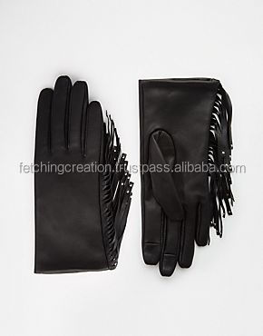 new fancy fetching party wear winter lady genuine leather glove