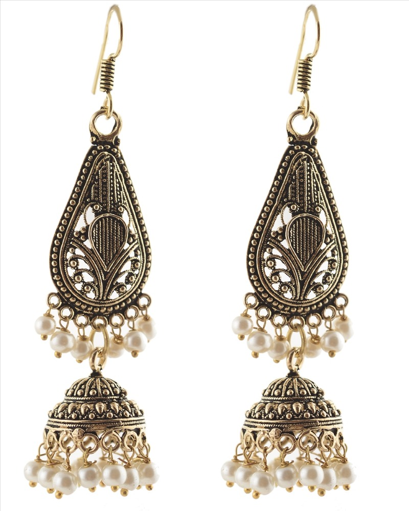 Zephyrr Fashion German Silver Light weight Hook Jhumki Earrings with Pearls