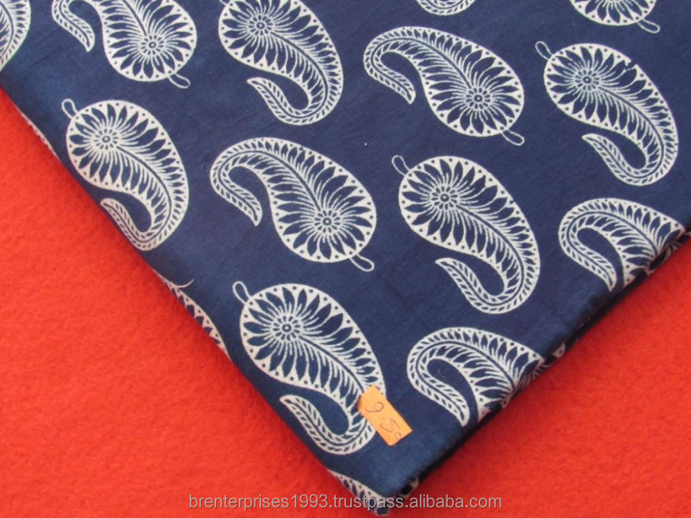 cotton indigo latest printed paisley design fabric