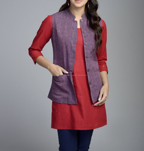 Cotton Khadi Amber Top Stitch Detail Jacket for women