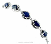 Gorgeous Design Natural Blue Sapphire 925 Sterling Silver Link Chain Bracelet, Wholesale Silver Jewelry, Exporter And Wholesaler