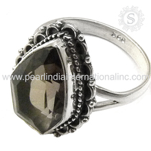 Gorgeous Smoky Quartz Gemstone Ring Wholesale 925 Sterling Silver Jewellery Handmade Silver Jewellery Exporters