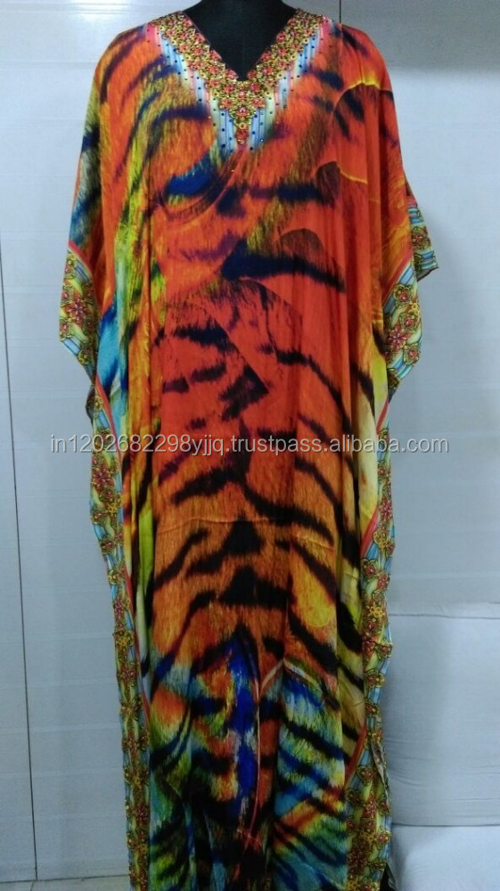 Viscos Crape animal digital printed long embellished kaftan