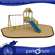 AS-104 Latest wonderful wooden amusement park swing set playground equipment