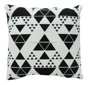 "Filled Canvas Cushion Decorative Triangle Pattern Square Pillows Throw 18"" x 18"" Inches SC3059A"