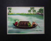 boats on the river paintings handmade