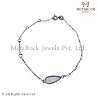 925 Sterling Silver Pave Diamond Moonstone Gemstone Link Chain Connector Bracelet for Women