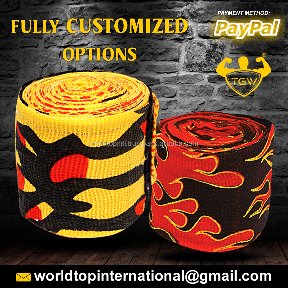 Unisex Boxing Bandages / Wrist Protecting Hand Wraps / Gym Hand Wraps Custom Design Accepted