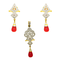 New arrival 18k Gold Ruby and Diamond Pendant with earring