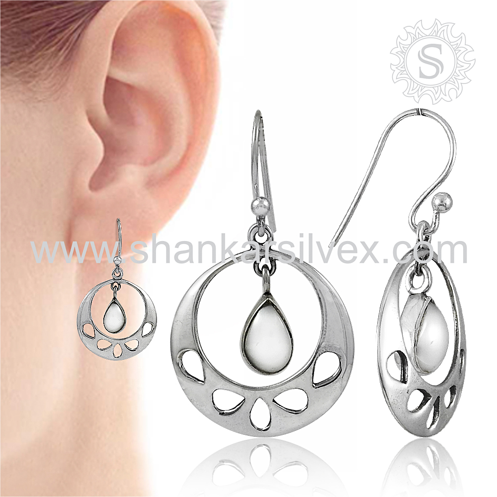 Especial Freshwater Pearl 925 Sterling Silver Earring Online Gemstone Silver Jewelry Exporter