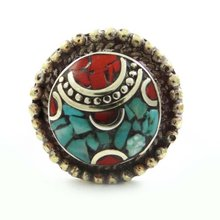 Turquoise Mosaic Tiles Silvertone Jewelry Bollywood Fashion Ring Jewelry Gift SZ 6.5 SR5658