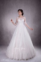 Pretty design Wedding dress Swetheart High Neck Fashionable Pattern High quality soft tulle Closed Back 3/4 length Sleeves