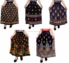 Hippie Boho Gypsy Tribal Batik Cotton Skirt Dress Handmade Casual Sequin Work Long Embroidered Skirts Wrap wholesale