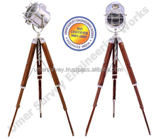 Tripod lamp On Wooden Foding Stand, Nautical Marine Focus Lights, Unique Focus Light