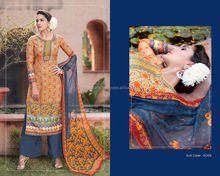 Gold Cotton Palazzo Churidar Suit