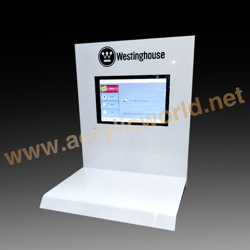creative counter top acrylic digital camera display/digital product display/acrylic camera holder with print logo