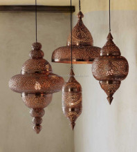 Hanging Metal Moroccan Pendants Lamps / Metal Decorative Lamps