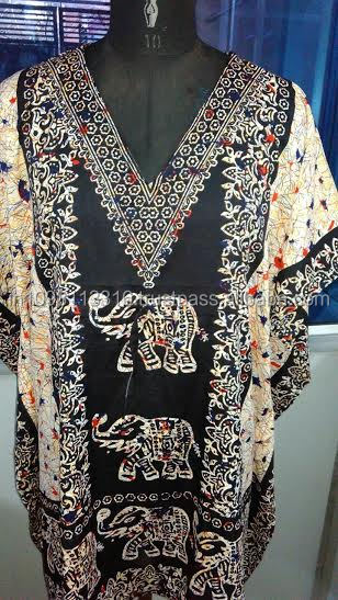 New Design 2016 Dress For Girls/ Ladies Pure Rayon Elephant design Caftan / Kaftans From Jaipur India Wholesale