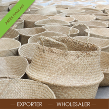 Wholesale handmade foldable seagrass belly basket, seagrass storage basket from Vietnam