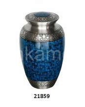 Brass Blue Fire Adult Cremation Urn With Heart Keepsake Cremation Urn And Small Token Cremation Urn