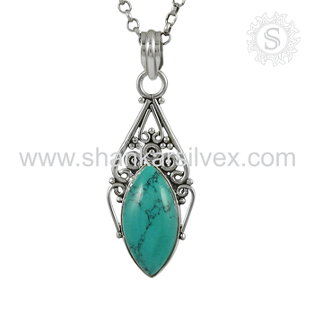 New Arrival Trendy 925 Sterling Silver Turquoise Pendant Wholesaler Silver Jewelry India