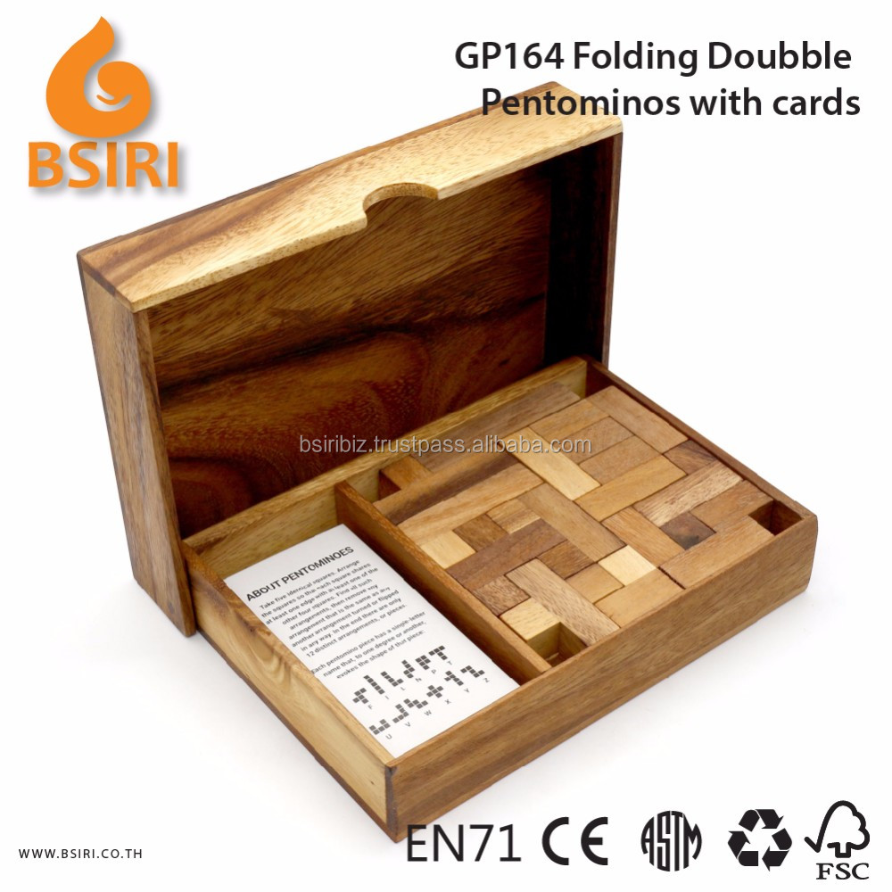 Wooden Folding Doubble Pentominos Puzzles Mind Puzzle Games with Cards