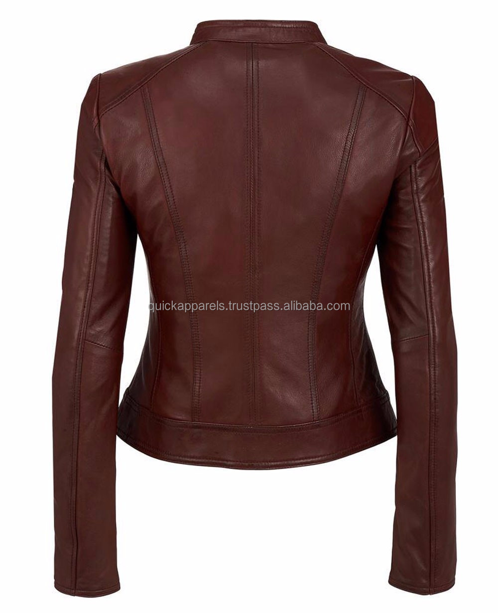 winter new design cheap black v-neck leather jacket for women