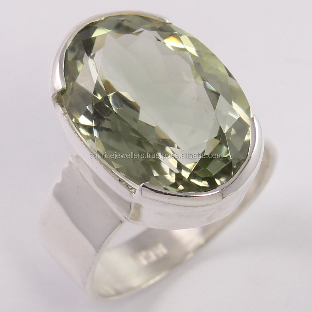 925 Sterling Silver Indian Artisan Ring Any Size Natural GREEN AMETHYST Gemstone Exporter