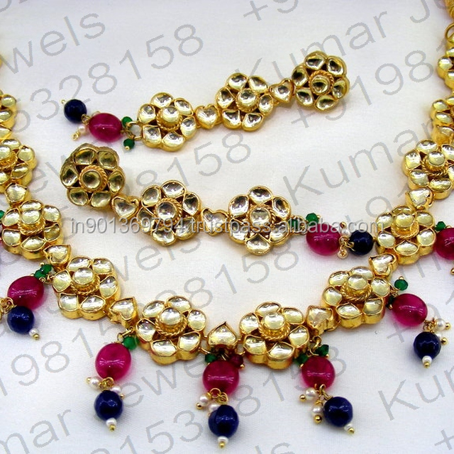 Kundan Ruby Blue Color Crystal Stone Pearl Beaded Gold Plated Handmade Party Wear Wedding Necklace Set