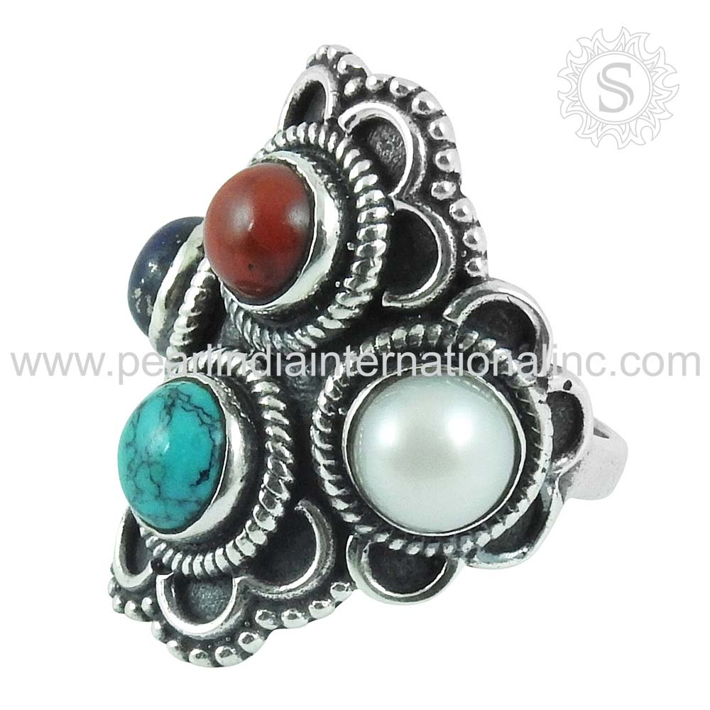 Nailing Multi Gemstone Silver Ring Wholesale Jewellery 925 Sterling Silver Jewelry Manufacturer India