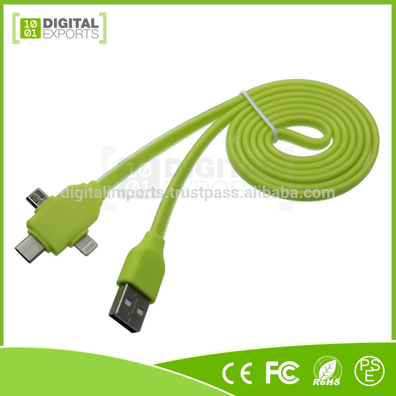 High quality RoHS CE FCC custom usb 3.1 type-c for Phone 5, 6, 6S, Android and Type-C 3 in one cable