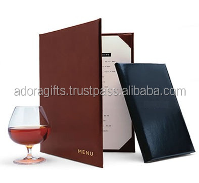 manufacturers supplies luxury black and brown restaurant menu cover