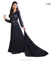 Navy blue colored party wear gown