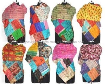 Silk Scarves Indian Old Vintage Kantha Stitch Patchwork Reversible Shawl