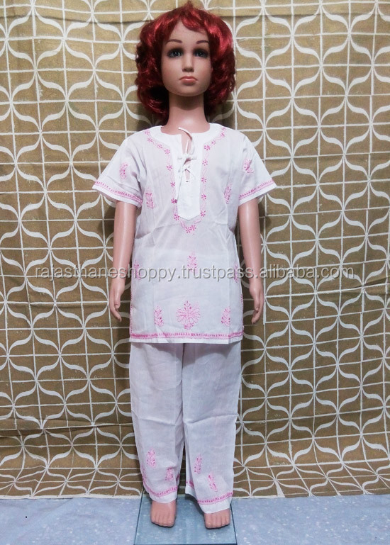 chiken embroidery cotton kids tunic trouser kids set