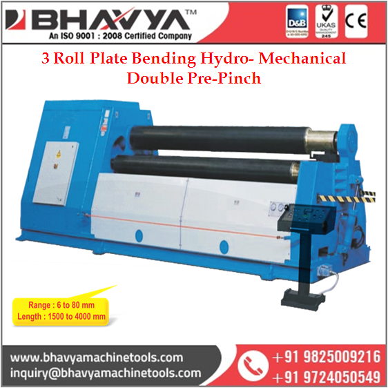 PBM DP Series 3 Roll Plate Bending Hydro- Mechanical Double Pre-Pinch Plate Bending Machine
