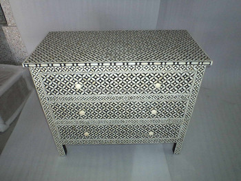 Indian & Moroccan Style Camel Bone Inlay Sideboard & Drawer Chest Cabinet (Bone & Mother of Pearl Inlay Furniture from India)