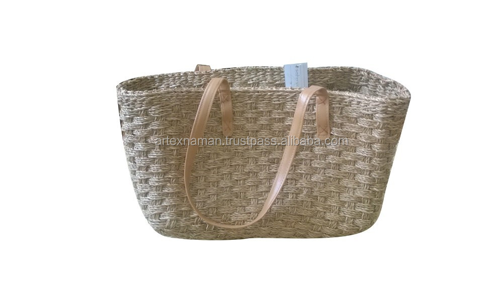 Cheap seagrass hand bag with leather handle