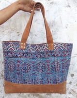 handmade leather kantha work designer tote bags / fashion bags