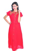 Tatka Long Length Red Georgette Kurti With Front Cut Style