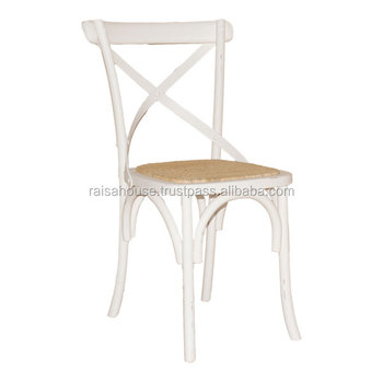 Shabby Furniture - Cross Back Chair with Rattan seat Shabby