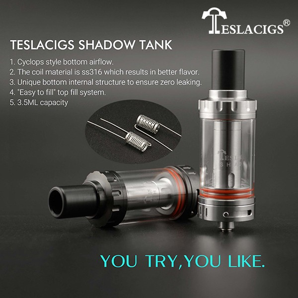 "2016 Newest design Teslacigs shadow tank bottom airflow""Easy to fill"" top fill system shadow tank"