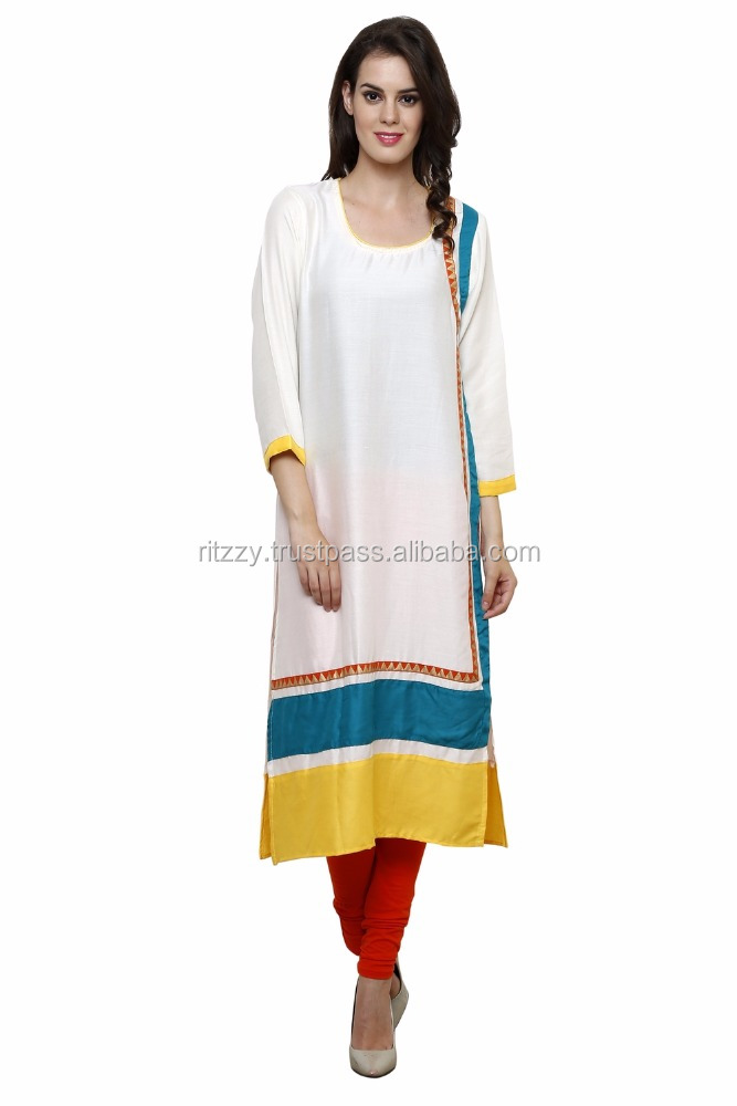 Wholesale Indian Designer Off White Cotton Rayon Printed Kurta Dress For Ladies
